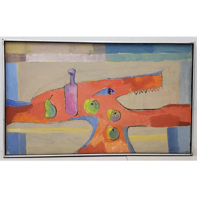Blue Mid Century Abstract Still Life Oil Painting by Francisco Ferro C.1960 For Sale - Image 8 of 8