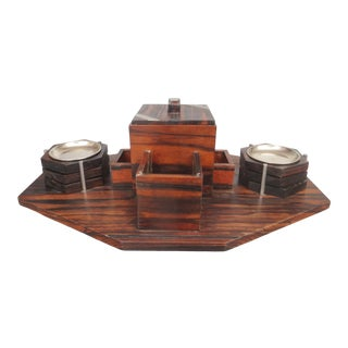 1930s French Art Deco Macassar Smoker Tray with 6 Ashtrays For Sale