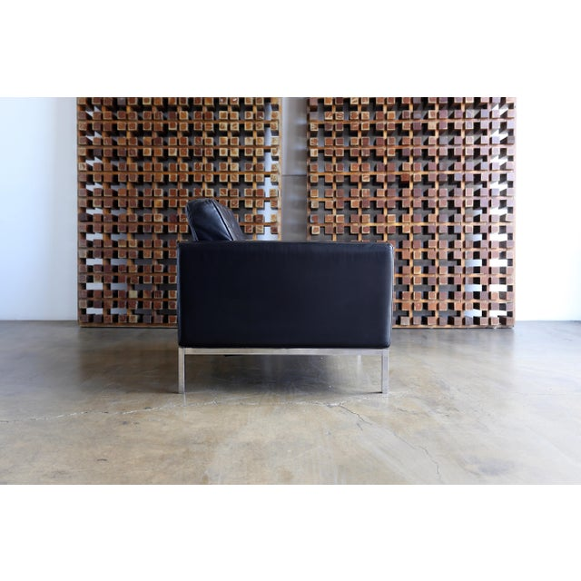 Black Mid Century Florence Knoll Leather Lounge Chairs - a Pair For Sale - Image 8 of 11