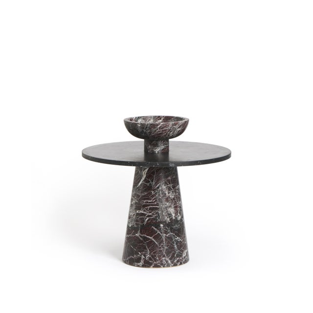 Modern Modern Coffee Table With Accessories in Red and Black Marble, by Karen Chekerdjian - Set of 4 For Sale - Image 3 of 13