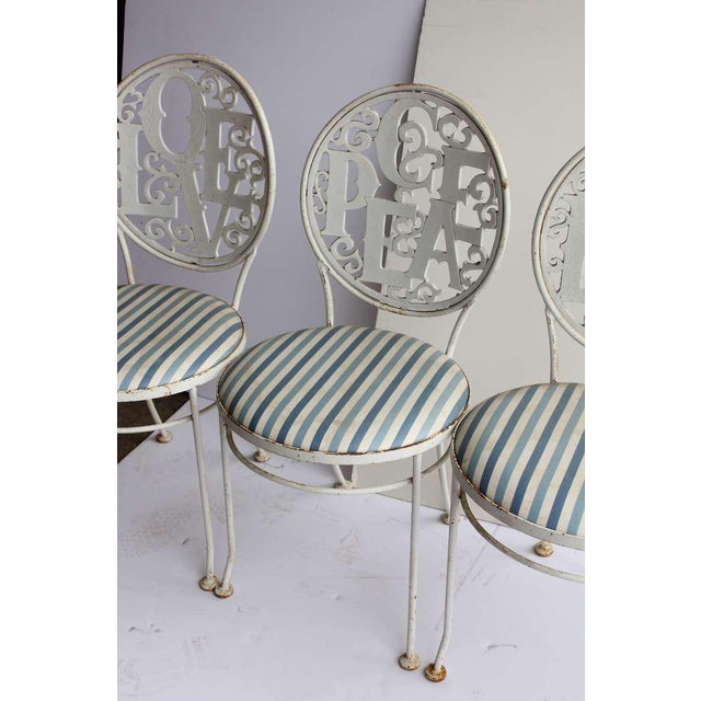 Shabby Chic Mid-Century Vintage Garden Chairs- Set of 4 For Sale - Image 3 of 4