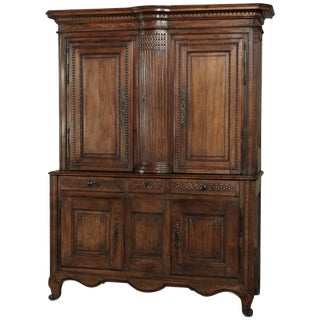 18th Century Country French Walnut Louis XVI Buffet a Deux Corps For Sale