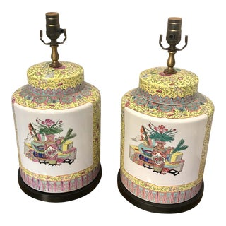 Republic Chinese Export Yellow Famille Verte Lamps - a Pair For Sale