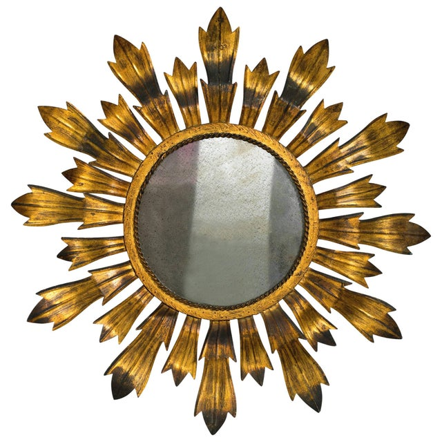 Metal Gilt Metal Sunburst Mirror For Sale - Image 7 of 8