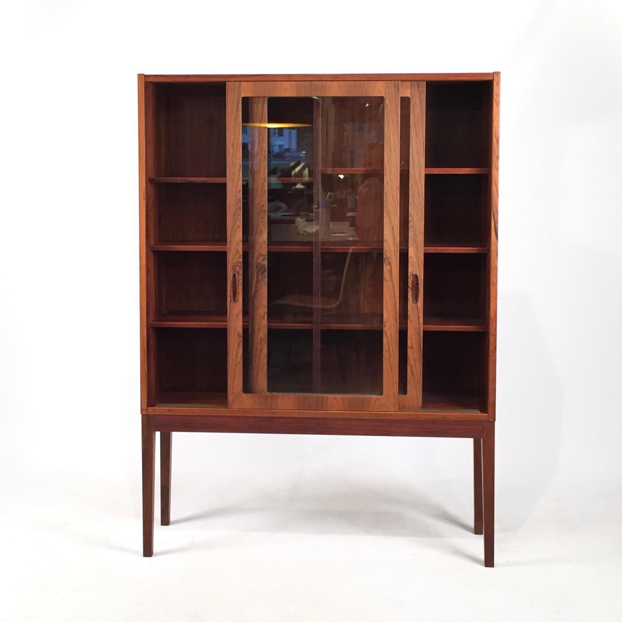 Vintage Danish Rosewood U0026 Glass Tall Cabinet   Image 2 ...