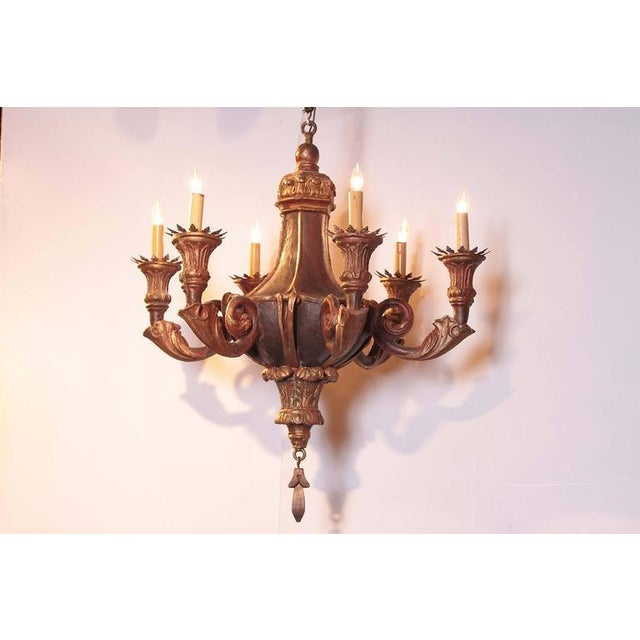 Large and interesting painted chandelier from Italy, circa 1920, with six lights and very classical design and bobeches....