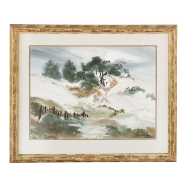 Framed Painting of Billowing Landscape For Sale