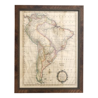 1720 Antique Engraved Map of South America by Thomas Kitchin in Custom Burlwood Frame For Sale