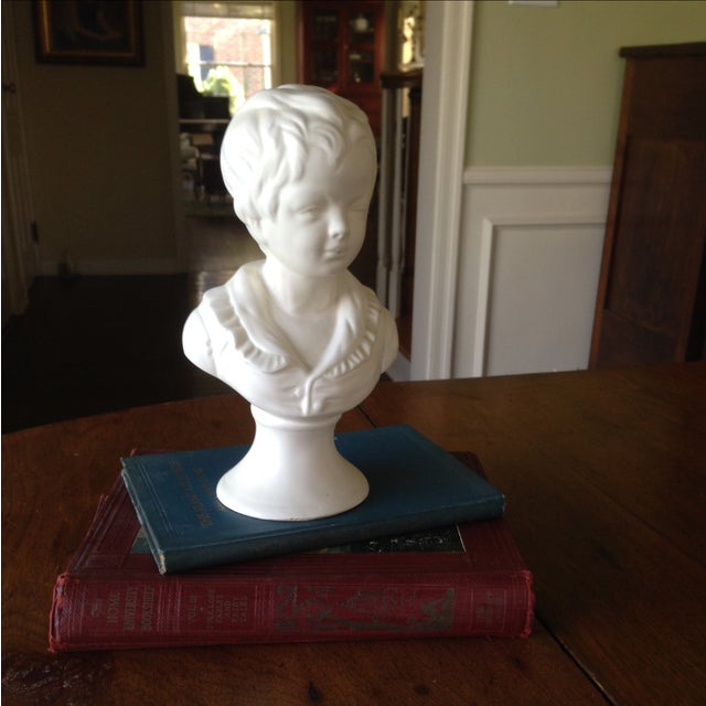 Vintage White Ceramic Young Child Bust - Image 11 of 11