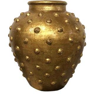 1980s Studded Metallic Gold Terracotta Vase For Sale