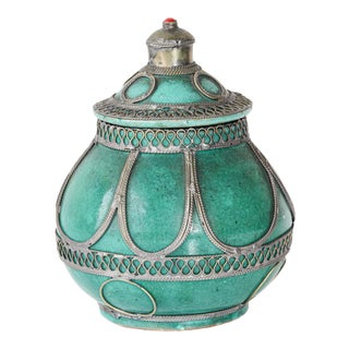 Moroccan Ceramic Covered Urn with Silver Filigree For Sale