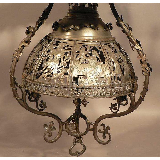 Late 19th Century Antique Handforged Iron Candle Luster From A German Castle For Sale - Image 5 of 13