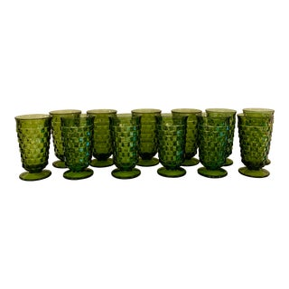 Mid-Century Green Glasses - Set of 12 For Sale