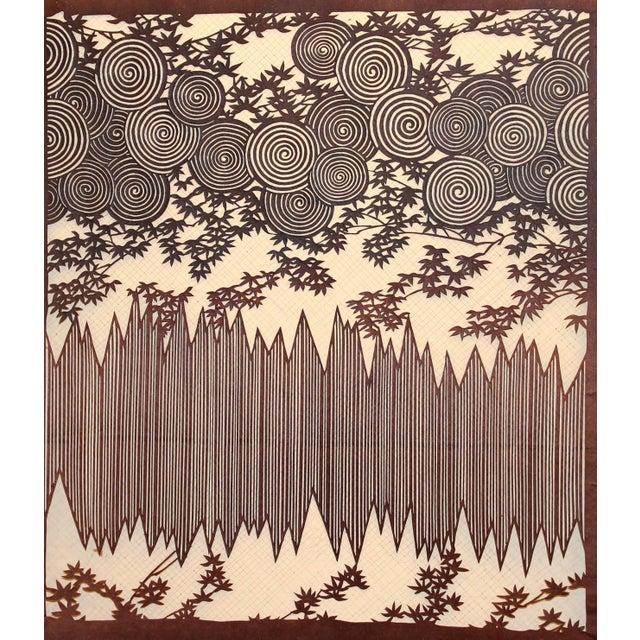 c09a0308f Asian Antique Japanese Kimono Fabric Stencil Wood Block Print Katagami For  Sale - Image 3 of