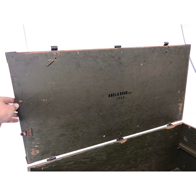 Vintage Military Green Wood Foot Locker Trunk For Sale - Image 11 of 12