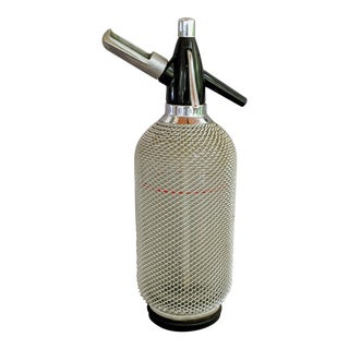 1960s Vintage Metal Mesh & Glass Seltzer Bottle For Sale