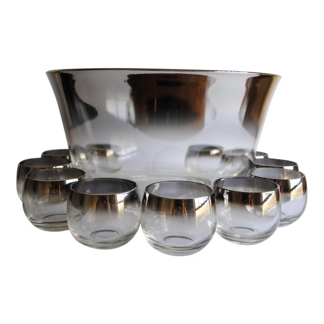 Mid-Century Silver Fade Punch Bowl & Glasses - Image 1 of 5