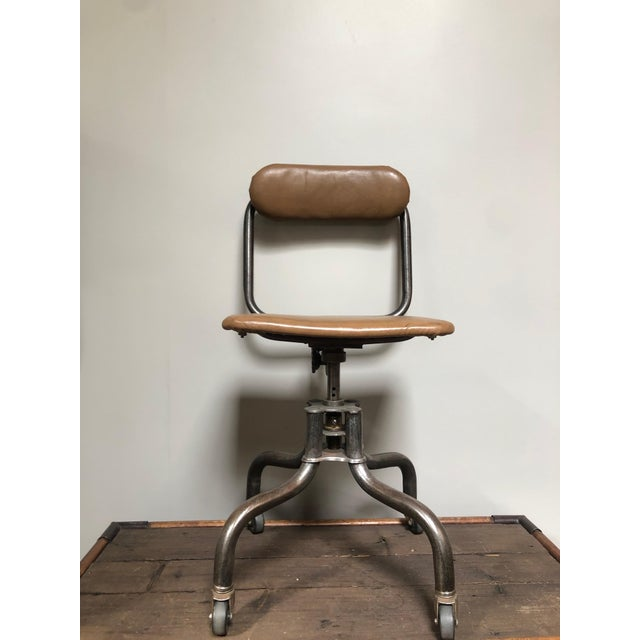 1940s Vintage Industrial Metal Desk Chair For Sale - Image 5 of 6