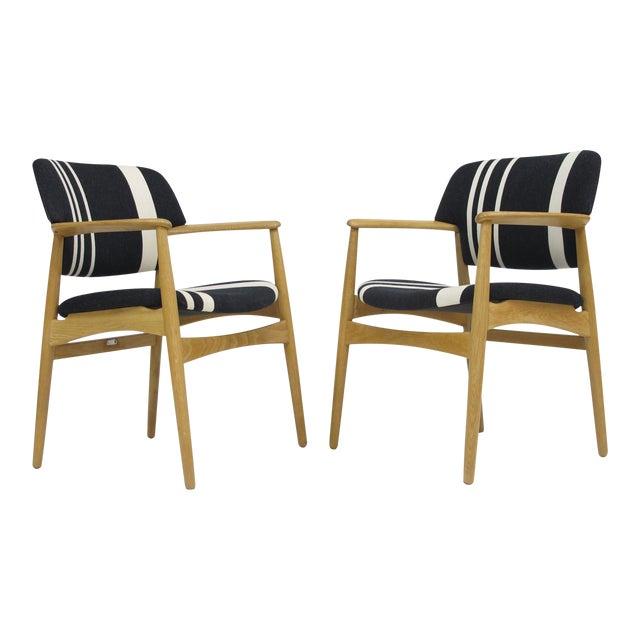 Pair of Aksel Bender Madsen for Fritz Hansen Oak Armchairs For Sale