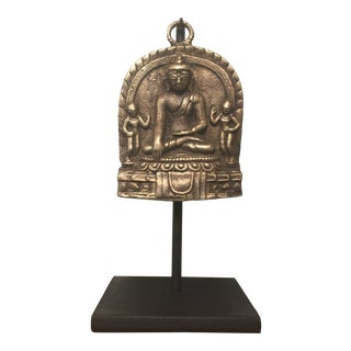 Antique Mounted Brass Buddhist Amulet For Sale