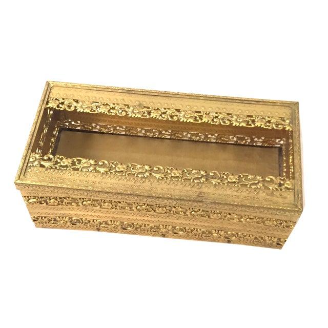 Gold Filligree Tissue Box - Image 1 of 4