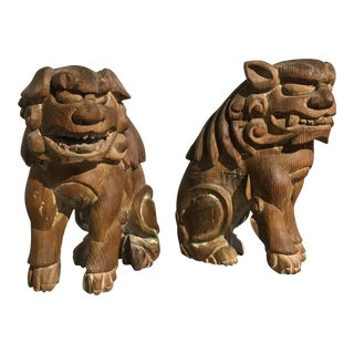Pair Japanese Edo Period Carved Wood Komainu, early 19th century For Sale