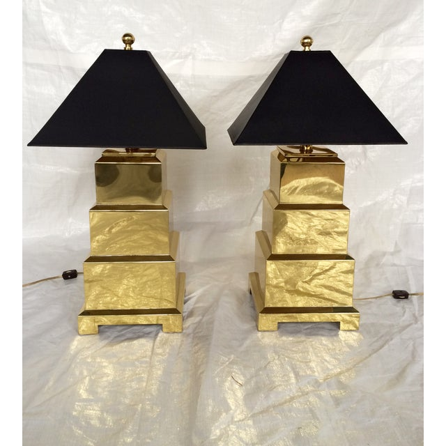 F. Cooper Brass Pagoda Lamps - Pair - Image 2 of 9