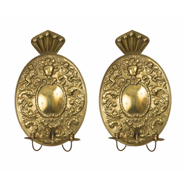 Mid 19th Century Pair of Dutch Baroque Style Brass Sconces For Sale - Image 5 of 5