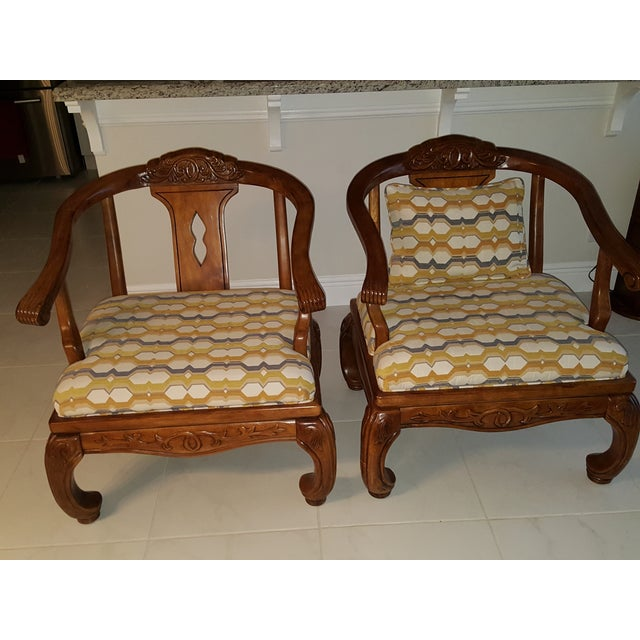 Thomasville Scroll Accent Chairs - Pair - Image 2 of 5