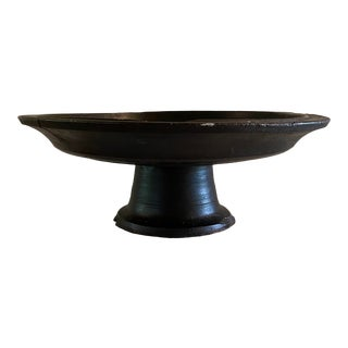 Early 20th Century Antique Hand Carved Wooden Offering Tray For Sale