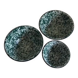 Splatter Green Enameled Bowls - Set of 3