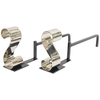 """Modern Nickel Plated, """"S Form"""", Scroll Andirons For Sale"""
