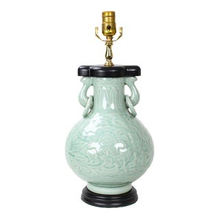 Chinese Style Celadon Double Ring Ear Table Lamp For Sale