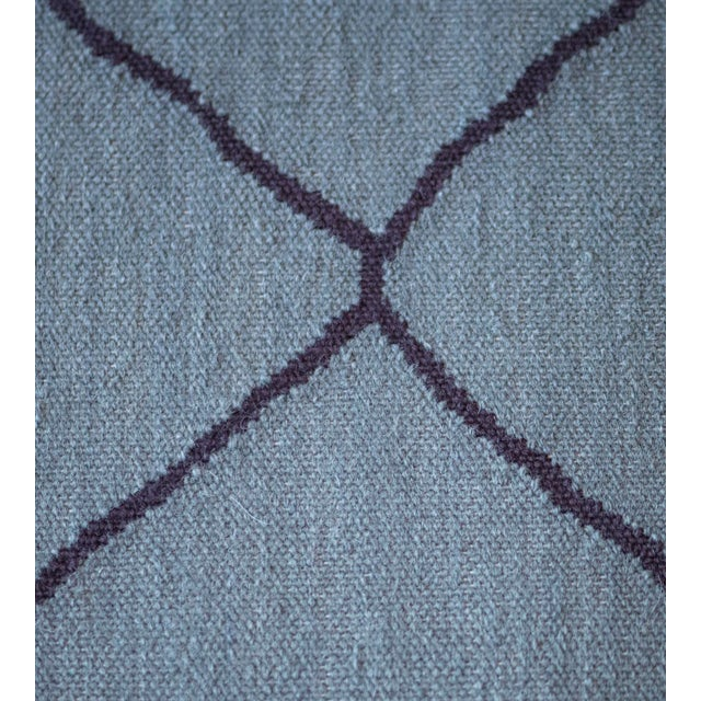 Textile Contemporary Blue Handwoven Wool Moroccan Inspired Flatweave Rug For Sale - Image 7 of 10