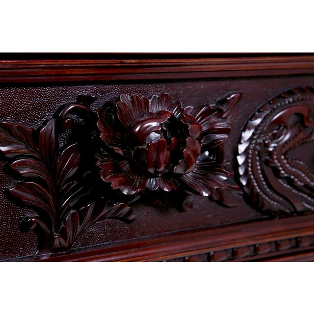 Glass Mid 19th Century Japanese Carved Chest & Mirror For Sale - Image 7 of 8