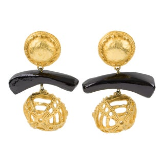 1990s Vintage Christian Lacroix Oversized Dangling Gilt Metal & Wood Clip Earrings For Sale