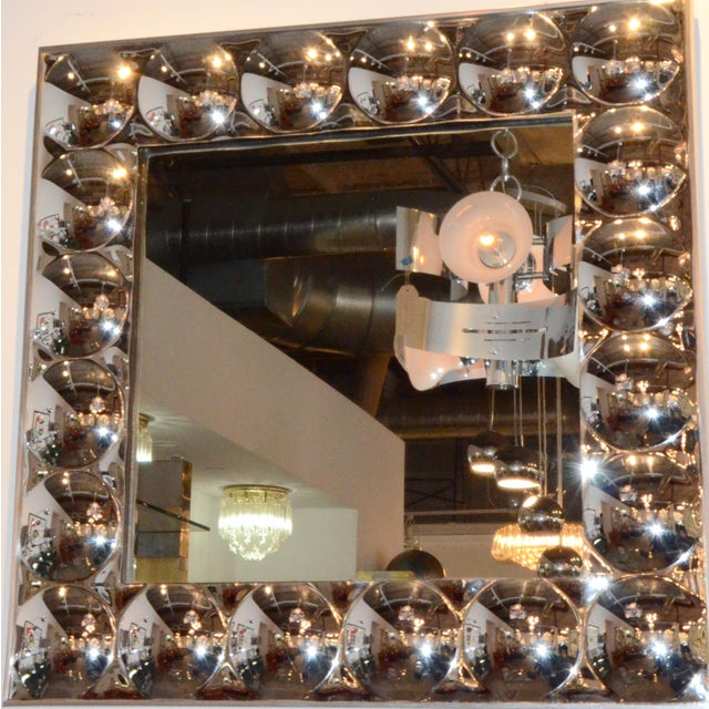 Signed Turner Mid Century Modern Silver Anodized Aluminum Molded Plastic Bubble Mirror - Image 2 of 9