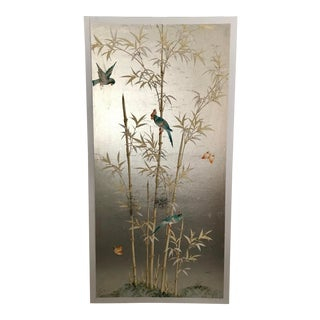 Chinoiserie Hand Painted Wallpaper Panel, Silver Metal Leaf With Bamboo Motif For Sale