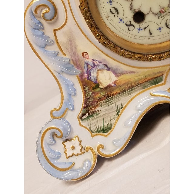 Rococo Antique Peabody Porcelain Hand Painted Clock For Sale - Image 3 of 9