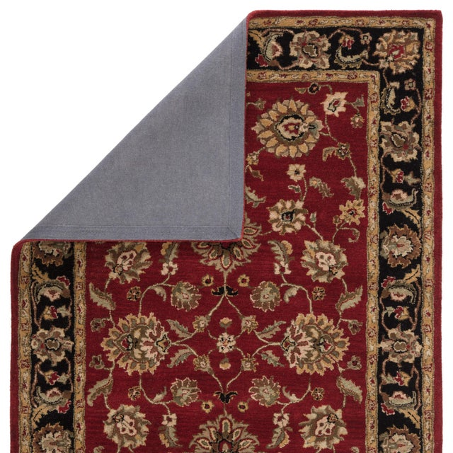 Contemporary Jaipur Living Anthea Handmade Floral Red Black Round Area Rug 8'X8' For Sale - Image 3 of 6