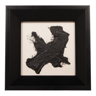 Original Black and White Abstract Painting With Beveled Black Frame For Sale