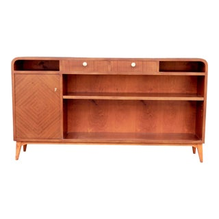 Swedish Art Modern Bookcase in Book Matched Mahogany, Circa 1940 For Sale