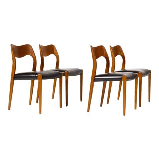 1960s Danish Modern j.l. Moller Teak Dining Chairs - Set of 4 For Sale
