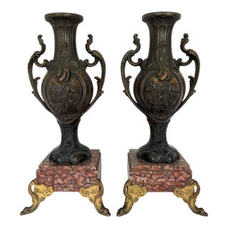 Italian Metal Ware Vases / Urns on Pink Marble & Gilt Bases - a Pair For Sale