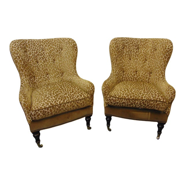 Hollywood Regency Style Leopard Velvet Lounge Chairs - a Pair For Sale