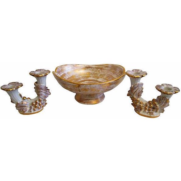 Mid-Century Royal Haeger Gold Centerpiece Set - Set of 3 - Image 1 of 7