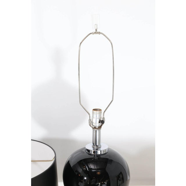 Mid Century Modern Pair of Modern Black Ceramic and Chrome Table Lamps - Image 2 of 9