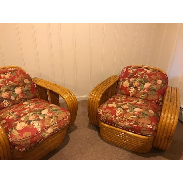 Mid-Century Vintage Paul Frankl Style Bamboo Rattan Lounge Chairs - a Pair For Sale - Image 10 of 11