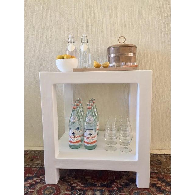 """Karl Springer Boho Chic White Plaster """"Telephone"""" Side Table For Sale - Image 4 of 5"""