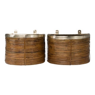 1970s Mid Century Handmade Pencil Reed Cane Brass Hanging Planters For Sale